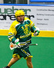 Newtown Golden Eagles Butch Jimerson (55) running with the ball against the Onondaga Redhawks in Can-Am Box Lacrosse action at the Onondaga Nation Arena near Nedrow, New York on Sunday, April 28, 2019.  Onondaga won 8-6.