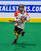 Onondaga Redhawks Vince Thomas (17) tosses the ball against the Newtown Golden Eagles in Can-Am Box Lacrosse action at the Onondaga Nation Arena near Nedrow, New York on Sunday, April 28, 2019.  Onondaga won 8-6.
