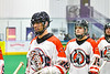 Onondaga Redhawks Dave Limbouris (18) after a win over the Newtown Golden Eagles in a Can-Am Box Lacrosse game at the Onondaga Nation Arena near Nedrow, New York on Sunday, April 28, 2019.  Onondaga won 8-6.