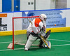 Onondaga Redhawks goalie Dave Mathers (1) makes a save against the Newtown Golden Eagles in Can-Am Box Lacrosse action at the Onondaga Nation Arena near Nedrow, New York on Sunday, April 28, 2019.  Onondaga won 8-6.