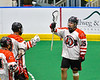 Onondaga Redhawks Cree Cathers (15) celebrates his goal against the Newtown Golden Eagles in Can-Am Box Lacrosse action at the Onondaga Nation Arena near Nedrow, New York on Sunday, April 28, 2019.  Onondaga won 8-6.