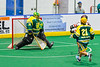 Onondaga Redhawks Lee Nanticoke (76) shoots the ball at Newtown Golden Eagles goalie Mason Junes (30) in Can-Am Box Lacrosse action at the Onondaga Nation Arena near Nedrow, New York on Sunday, April 28, 2019.  Onondaga won 8-6.