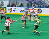 Newtown Golden Eagles Behnew Printup (16) fires the ball at Onondaga Redhawks goalie Dave Mathers (1) in Can-Am Box Lacrosse action at the Onondaga Nation Arena near Nedrow, New York on Sunday, April 28, 2019.  Onondaga won 8-6.