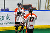 Onondaga Redhawks Cam Simpson (5) celebrates his goal against the Rochester River Monsters in Can-Am Box Lacrosse action at the Onondaga Nation Arena near Nedrow, New York on Friday, May 10, 2019. Onondaga won 18-4.