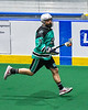 Rochester River Monsters Chris Dalton (76) running with the ball against the Onondaga Redhawks in Can-Am Box Lacrosse action at the Onondaga Nation Arena near Nedrow, New York on Friday, May 10, 2019. Onondaga won 18-4.