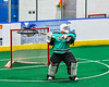 Rochester River Monsters goalie Patrick Crosby (1) about to pass the ball against the Onondaga Redhawks in Can-Am Box Lacrosse action at the Onondaga Nation Arena near Nedrow, New York on Friday, May 10, 2019. Onondaga won 18-4.