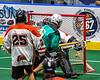 Rochester River Monsters James Schutt (26) scores a goal against the Onondaga Redhawks in Can-Am Box Lacrosse action at the Onondaga Nation Arena near Nedrow, New York on Friday, May 10, 2019. Onondaga won 18-4.