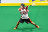 Onondaga Redhawks Hajenhne Brown (22) winds up for a shot at the Rochester River Monsters net in Can-Am Box Lacrosse action at the Onondaga Nation Arena near Nedrow, New York on Friday, May 10, 2019. Onondaga won 18-4.