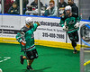 Rochester River Monsters James Schutt (26) points to his teammate who passed him the ball for his goal against the Onondaga Redhawks in Can-Am Box Lacrosse action at the Onondaga Nation Arena near Nedrow, New York on Friday, May 10, 2019. Onondaga won 18-4.