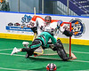 Onondaga Redhawks goalie Davey Jones (30) makes a save against Rochester River Monsters Jason Briggs (93) in Can-Am Box Lacrosse action at the Onondaga Nation Arena near Nedrow, New York on Friday, May 10, 2019. Onondaga won 18-4.