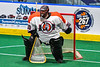 Onondaga Redhawks goalie Davey Jones (30) in net against the Rochester River Monsters in Can-Am Box Lacrosse action at the Onondaga Nation Arena near Nedrow, New York on Friday, May 10, 2019. Onondaga won 18-4.