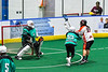 Onondaga Redhawks Vince Thomas (17) shoots and scores against the Rochester River Monsters in Can-Am Box Lacrosse action at the Onondaga Nation Arena near Nedrow, New York on Friday, May 10, 2019. Onondaga won 18-4.