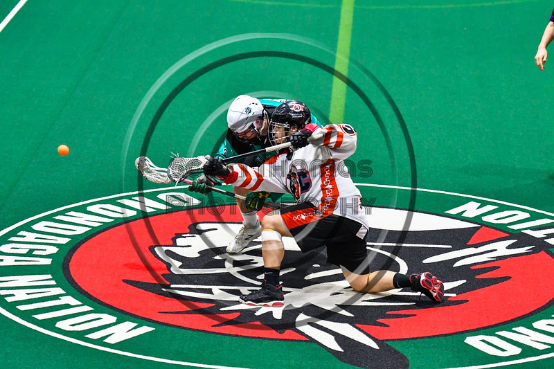 Onondaga Redhawks and Rochester River Monsters face-off to start a Can-Am Box Lacrosse game at the Onondaga Nation Arena near Nedrow, New York on Friday, May 10, 2019. Onondaga won 18-4.