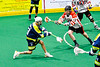 Allegany Arrows Toby Bova (23) shoots and scores a goal against the Onondaga Redhawks in Can-Am Box Lacrosse action at the Onondaga Nation Arena near Nedrow, New York on Saturday, May 25, 2019. Allegany won 12-8.