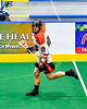 Onondaga Redhawks Matt Noble (20) with the ball against the Allegany Arrows in Can-Am Box Lacrosse action at the Onondaga Nation Arena near Nedrow, New York on Saturday, May 25, 2019. Allegany won 12-8.