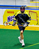 Allegany Arrows Tyson Brown (83) with the ball against the Onondaga Redhawks in Can-Am Box Lacrosse action at the Onondaga Nation Arena near Nedrow, New York on Saturday, May 25, 2019. Allegany won 12-8.