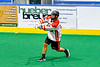 Onondaga Redhawks Wade Bucktooth (19) fires the ball at the Allegany Arrows net in Can-Am Box Lacrosse action at the Onondaga Nation Arena near Nedrow, New York on Saturday, May 25, 2019. Allegany won 12-8.