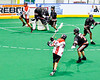Onondaga Redhawks Lee Nanticoke (76) shoots and scores a goal against the Akwesasne Bucks in Can-Am Box Lacrosse action at the Onondaga Nation Arena near Nedrow, New York on Friday, May 31, 2019. Akwesasne won 11-6.