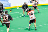 Onondaga Redhawks Lee Nanticoke (76) winding up and shooting the ball at the Akwesasne Bucks net in Can-Am Box Lacrosse action at the Onondaga Nation Arena near Nedrow, New York on Friday, May 31, 2019. Akwesasne won 11-6.