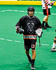 Akwesasne Bucks Russ Oakes (13) celebrates his goal against the Onondaga Redhawks in Can-Am Box Lacrosse action at the Onondaga Nation Arena near Nedrow, New York on Friday, May 31, 2019. Akwesasne won 11-6.