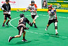 Akwesasne Bucks Russ Oakes (13) shoots and scores a goal against the Onondaga Redhawks in Can-Am Box Lacrosse action at the Onondaga Nation Arena near Nedrow, New York on Friday, May 31, 2019. Akwesasne won 11-6.