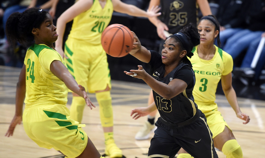 . Brecca Thomas, of CU, passes around the Oregon defense. For more photos of the game, go to Buffzone.com.  Cliff Grassmick / Staff Photographer/ January 26, 2018