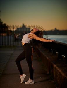 Sept.21,  2019 - New York, NY   Dancer / Fitness / Lifestyle Model Oriana Siphanoum captured along Manhaatan's East Side  Stetts Model Management   Photographer- Robert Altman Post-production- Robert Altman