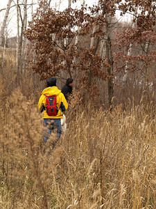 Bushwhacking in simulated wilderness.