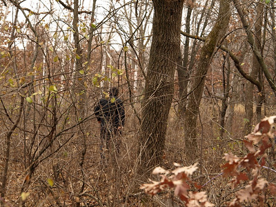 Ken quickly disappeared into the woods and the crew was left to its own devices to navigate thick brush.