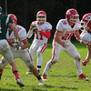 JIM VAIKNORAS/STAFF photo Masco's Declan Judge looks for a reciever against Pentucket at Pentucket Saturday.