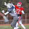 Masconomet's Declan Judge passes the ball Thanksgiving day football against Pingree Thursday, Nov. 26, at Masconomet high School.
