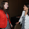 Danvers:<br /> Holbrook Phelan, left, of Salem High, and Mia Farnham, of Masconomet, talk at the Salem News Student-Athlete banquet.<br /> Photo by Ken Yuszkus/Salem News, Thursday, April 5, 2012.