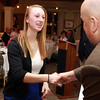Salem: Essex Aggie senior Julianne DeGenova shakes hands with Salem News Editor David Olson at the 51st Annual Salem News Student-Athlete Banquet. David Le/Salem News