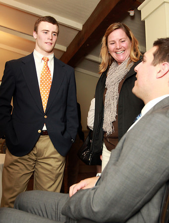 Salem: Beverly High School senior Brendan Flaherty and his mother Anne, talk with guest speaker Pete Frates after the 51st Annual Salem News Student-Athlete Banquet. David Le/Salem News