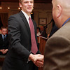 Salem: Marblehead High School senior Ian Maag shakes hands with Salem News Editor David Olson during the 51st Annual Salem News Student-Athlete Banquet. David Le/Salem News