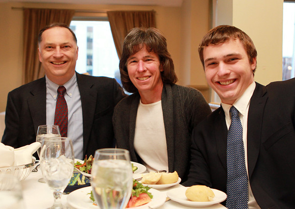 Salem: Salem News Student-Athlete nominee Andrew Klobucher with his parents Natalie and Mark,  at the 51st Annual Salem News Student-Athlete Banquet. David Le/Salem News