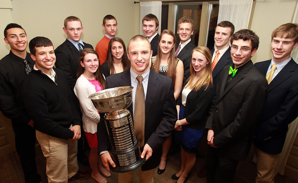 Salem: Masconomet senior Dylan Mann, center, winner of the 51st Annual Salem News Student-Athlete Award, poses with the other 2013 Student-Athlete Nominees after being named recipient of the award on Thursday evening. David Le/Salem News