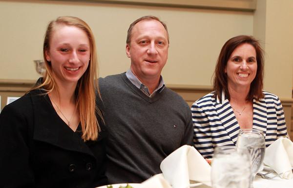 Salem: Salem News Student-Athlete nominee Julianne DeGenova with her parents Liz and John, at the 51st Annual Salem News Student-Athlete Banquet. David Le/Salem News