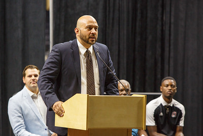 South Omaha High School principal speaks before the Marlin Briscoe statue unveiling in Baxter Arena. UNO Basketball player Tra-Deon Hollins was the model for the statue.   Sept. 23, 2016