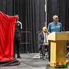Marlin Briscoe speaks before his statue unveiling in Baxter Arena. UNO Basketball player Tra-Deon Hollins was the model for the statue. <br /> <br /> Sept. 23, 2016