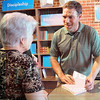 Matt Hamilton/The Daily Citizen<br /> Jason Swiney signs copies of his book Tuesday at the Wink Theatre.