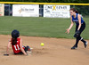 Harleysville's Meghan Hamilton steals second base as the throw to the Deep Run shortstop comes too late.<br /> Bob Raines--Montgomery Media