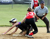 Deep Run's Lauren Hess steals second base as the tag by Harleysville's Haley Wawrzynek is too late.<br /> Bob Raines--Montgomery Media