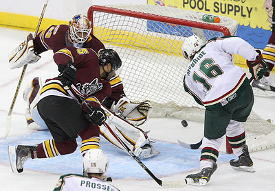 November 17, 2010 - Brock McBride scores a first period goal to give the Houston Aeros a 2-0 lead over the Chicago Wolves.  The Aeros held off a late rally by the Wolves to win 3-2 Wednesday night at Toyota Center in Houston.