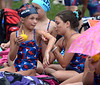 Bob Raines--Montgomery Media<br /> Zoe Welsh, left, and Danielle Reavy, Hatfield, ink each other up with slogans before the meet at Lansdale June 25, 2015