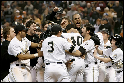 No. 5 ranked Vanderbilt celebrates an extra inning victory against Arizona State Saturday, February 10 at the Houston College Baseball Classic Tournament.  Pinch runner Jonathan White scored the winning run on a wild pitch in the bottom of the 10th to give the Commodores a 7-6 win.