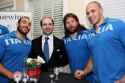 June 19, 2012; Houston, TX, USA; Italy Consul General Fabrizio Nava with members of the Italy Rugby Team at a reception at the Italian Cultural and Community Center. Credit: Taormina Photography
