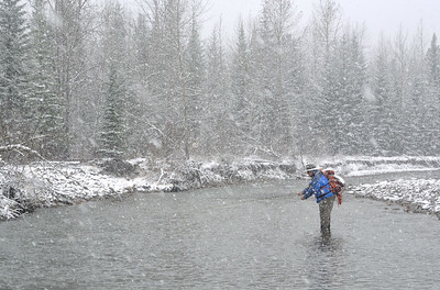 Longview, Alta _ Oct. 13, 2016 _ Bruce Masterman fishes for trout during a snowy  October day on the Highwood River west of Longview. (Mike Sturk photo)