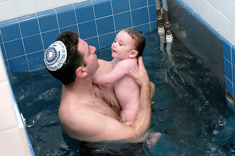 Jay and Hannah in the Mikvah. Oakland, California
