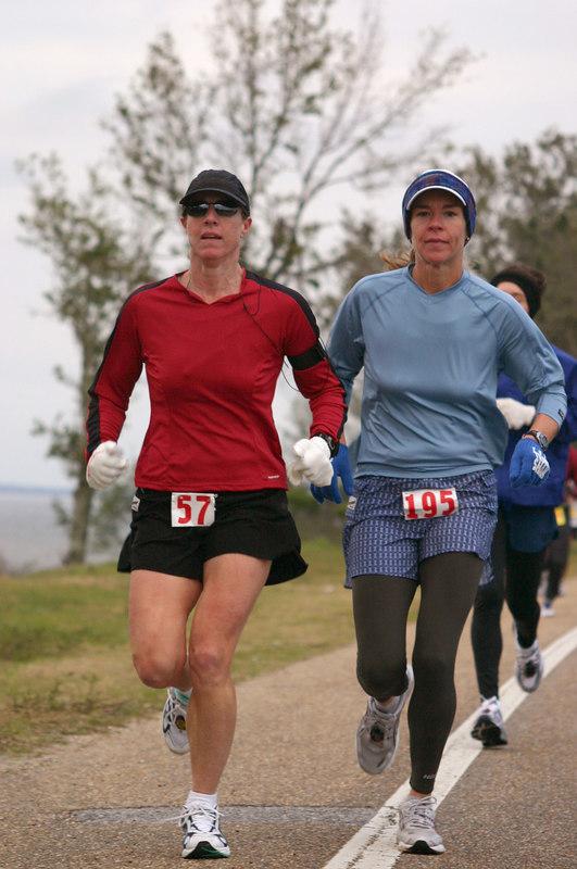 Carol Dorn and Jennifer Neighbors in Pensacola Marathon.  February 2006.